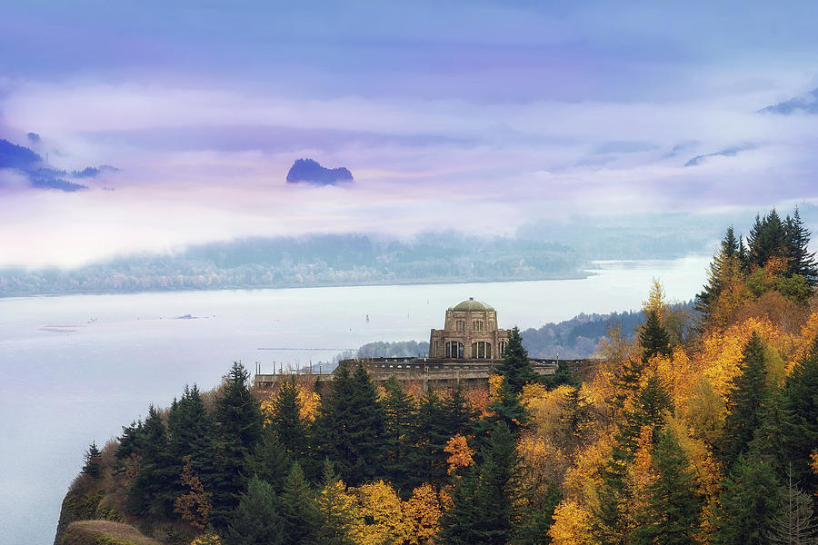 Crown Point Photograph - Rolling Fog At Columbia River Gorge In Fall by David Gn