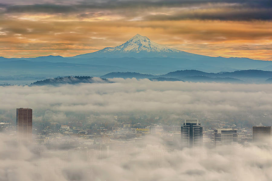 Portland Photograph - Rolling Low Fog Over City Of Portland by David Gn