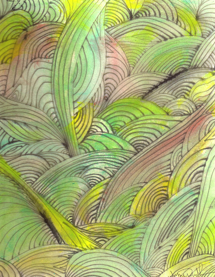 Abstract Painting - Rolling Patterns In Greens by Wayne Potrafka