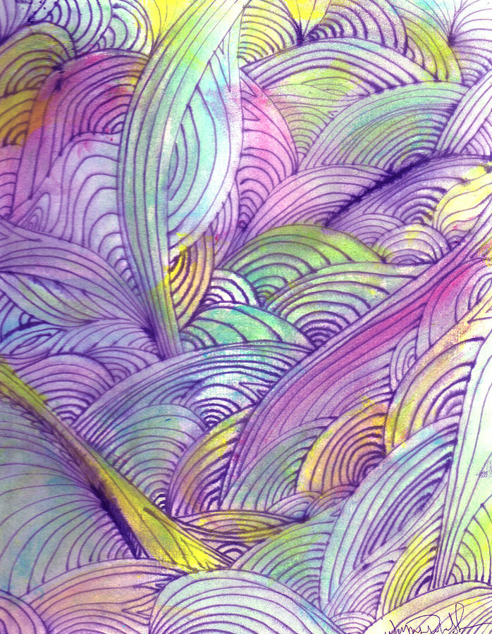 Abstract Painting - Rolling Patterns In Pastel by Wayne Potrafka