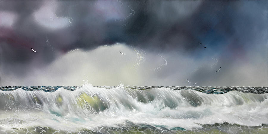 Seascape Painting - Rolling Sea by Don Griffiths