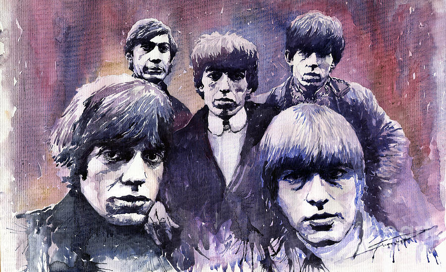 Watercolor Painting - Rolling Stones  by Yuriy  Shevchuk