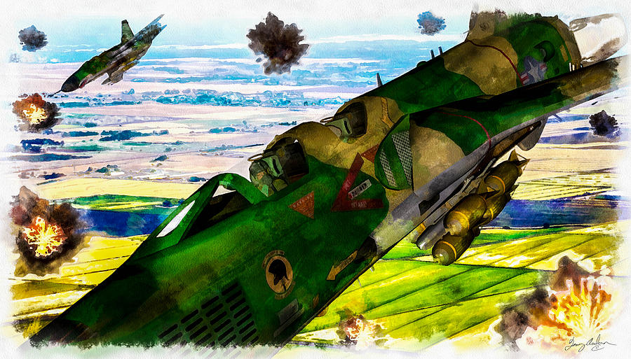 Air Force Digital Art - Linebacker II - The Thud - Water Color by Tommy Anderson