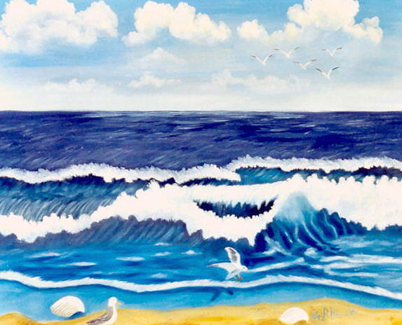 Seascape Painting - Rolling Waves Sold by Ruth  Housley