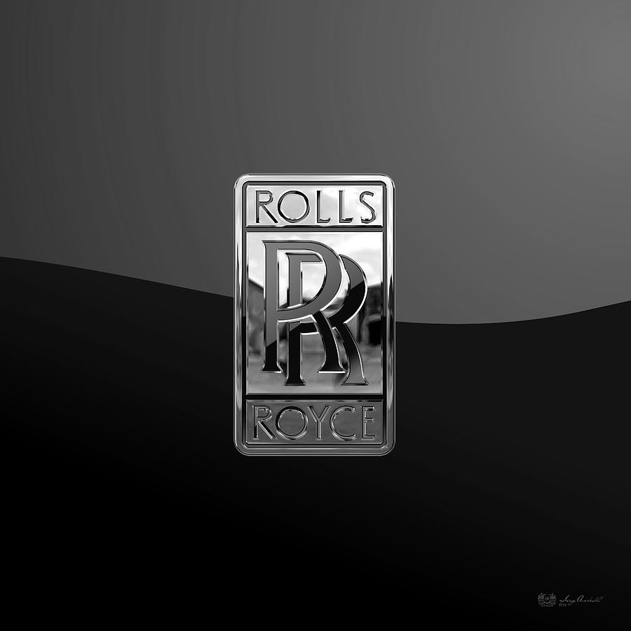 'auto Badges' Collection By Serge Averbukh Digital Art - Rolls Royce - 3d Badge On Black by Serge Averbukh