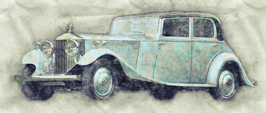 Rolls-royce Phantom Mixed Media - Rolls-royce Phantom 1 - Luxury Car - 1925 - Automotive Art - Car Posters by Studio Grafiikka