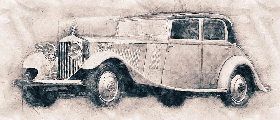 Rolls-royce Phantom - Luxury Car - 1925 - Automotive Art - Car Posters Mixed Media