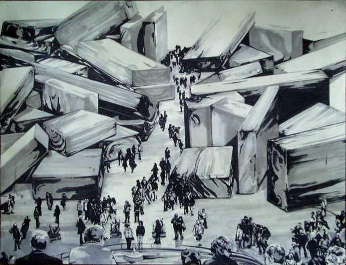 People In City Of Wood Drawing - Roma by Kaley LaRose
