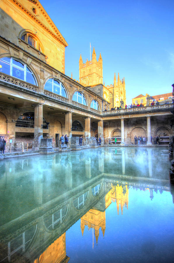 Roman Baths Photograph - Roman Baths and Bath Cathedral reflections by Peggy Berger