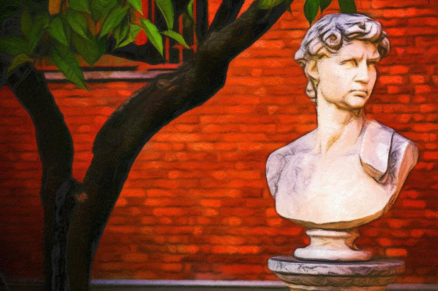 Pastel Digital Art - Roman Bust, Loyola University Chicago by Vincent Monozlay