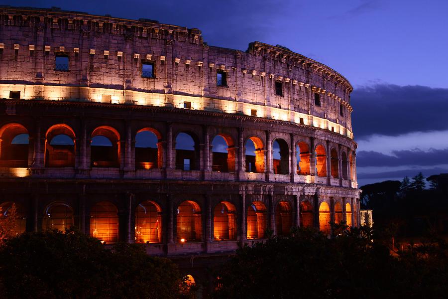 Roman Colosseum Photograph - Roman Colosseum At Night by Warren Home Decor