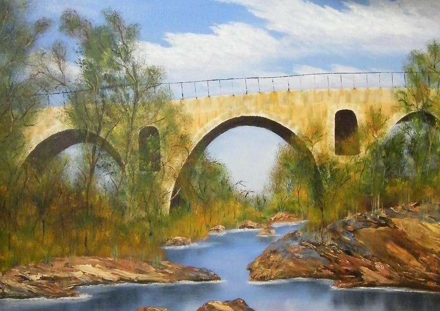 Water Painting - Roman Creek Bridge by Larry Doyle