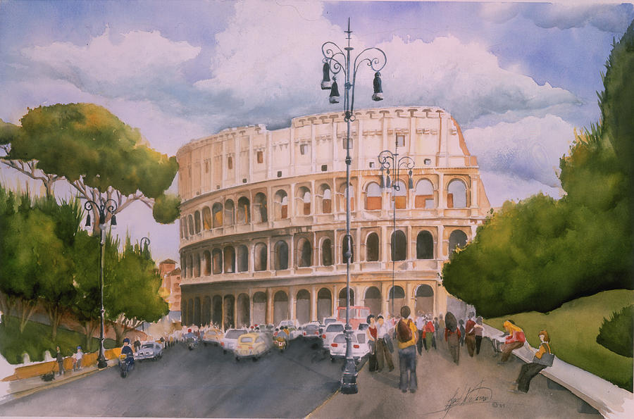 Italy Painting - Roman Holiday- Colosseum by Leah Wiedemer