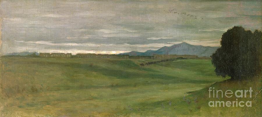 Roman Painting - Roman Landscape by Antoine Auguste Ernest Hebert
