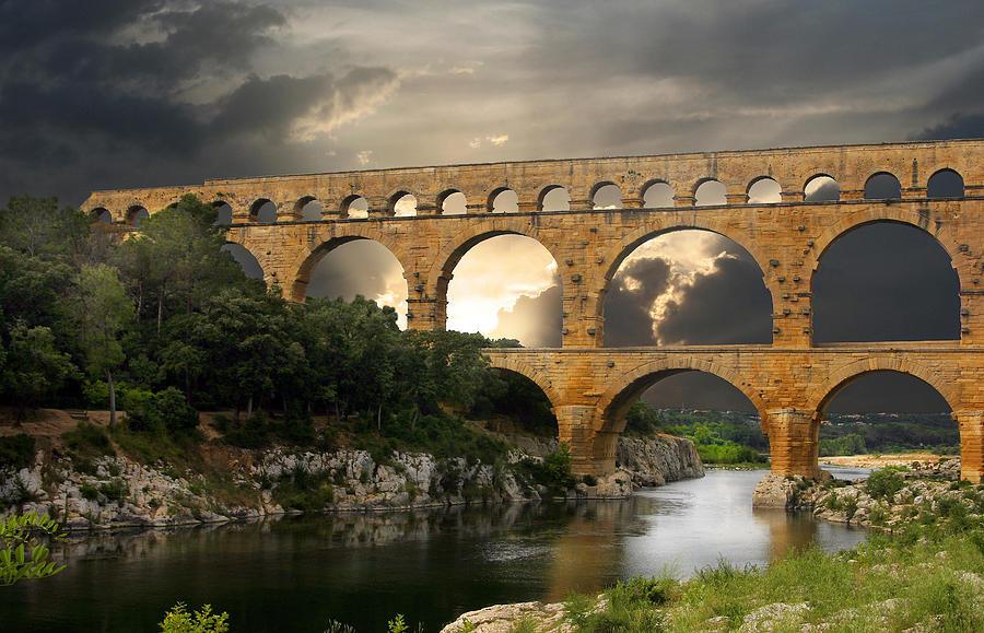 Bridge Photograph - Roman Pont Du Gard by Melvin Kearney
