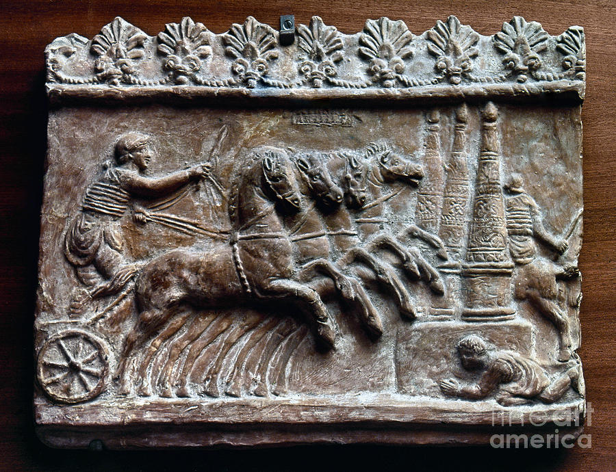 2nd Century Photograph - Roman Relief: Chariot Race by Granger