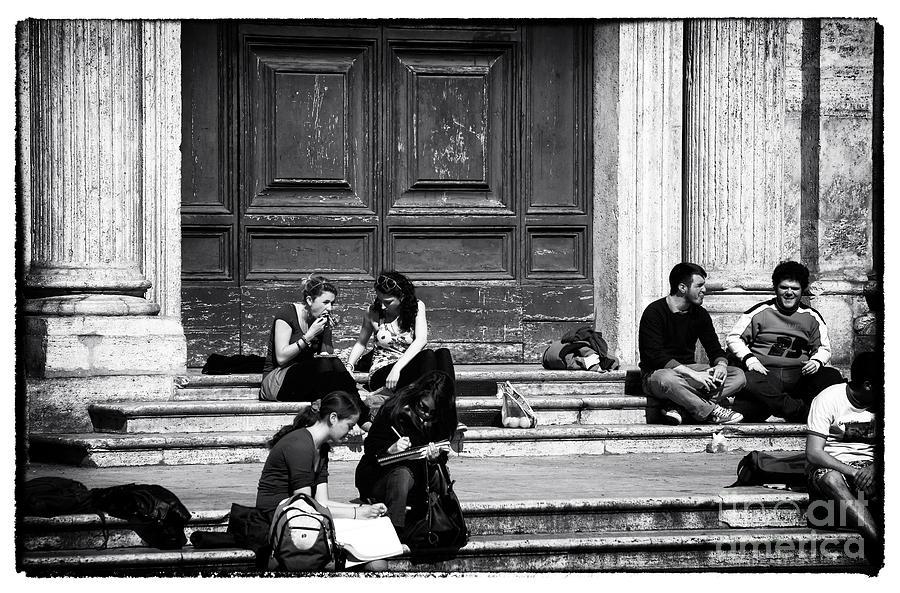 Roman Study Break Photograph - Roman Study Break by John Rizzuto