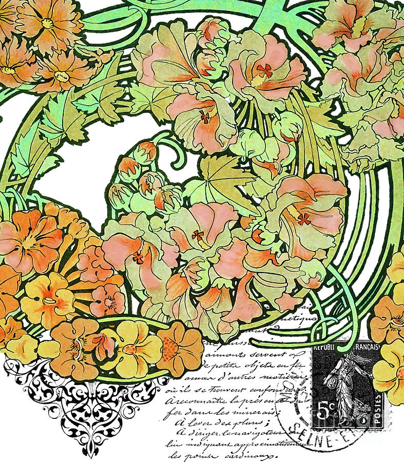 Romance In Paris, Art Nouveau Floral Nostalgia Painting by ...