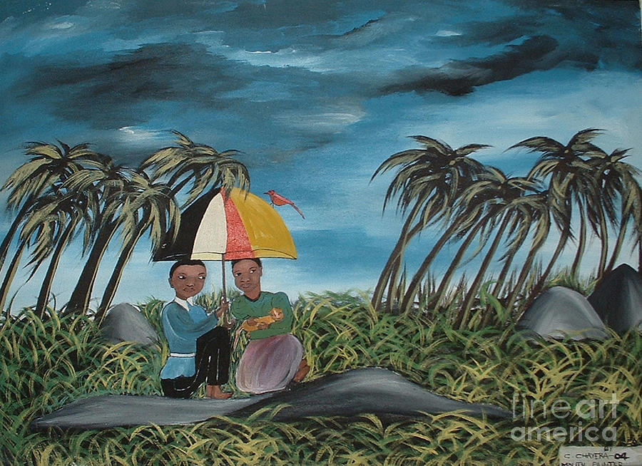 African Painting - Romance In The Forest by Mount painter-Chrisfold Chayera