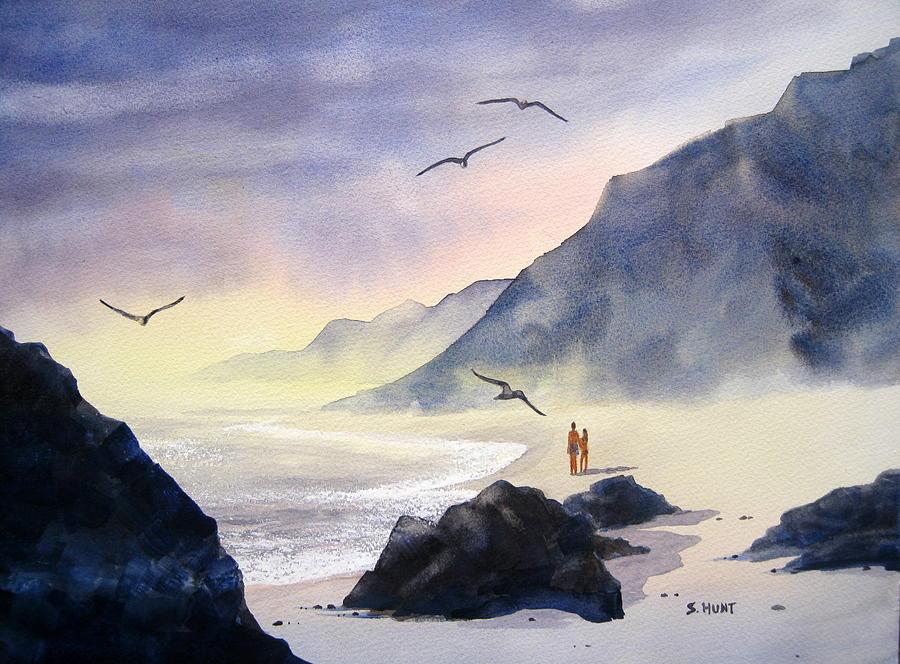 Landscape Painting - Romance Of The Cormorants by Shirley Braithwaite Hunt