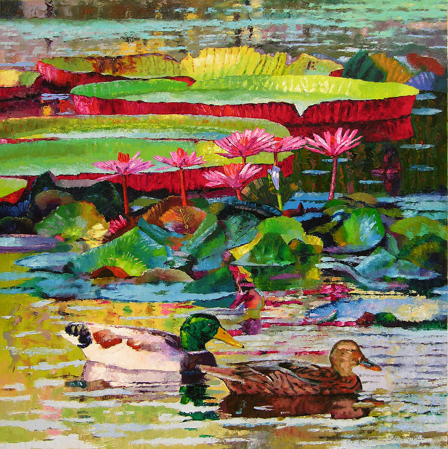Mallard Ducks Painting - Romancing Among the Lilies by John Lautermilch