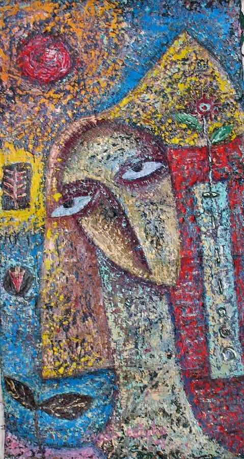 Women Painting - Romancing The Moon by Jacob  Wachira Ezigbo