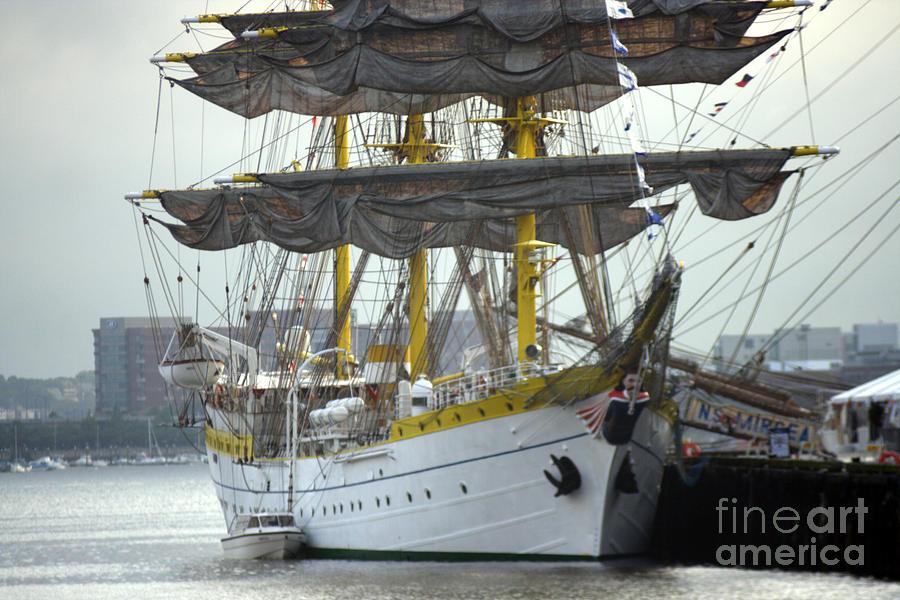 Tall Ship Photograph - Romanian Tall Ship by Jim Beckwith
