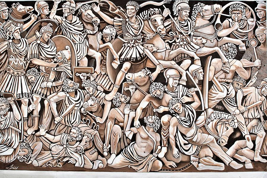 Romans Painting - Romans And Barbarians by Iris Ortega
