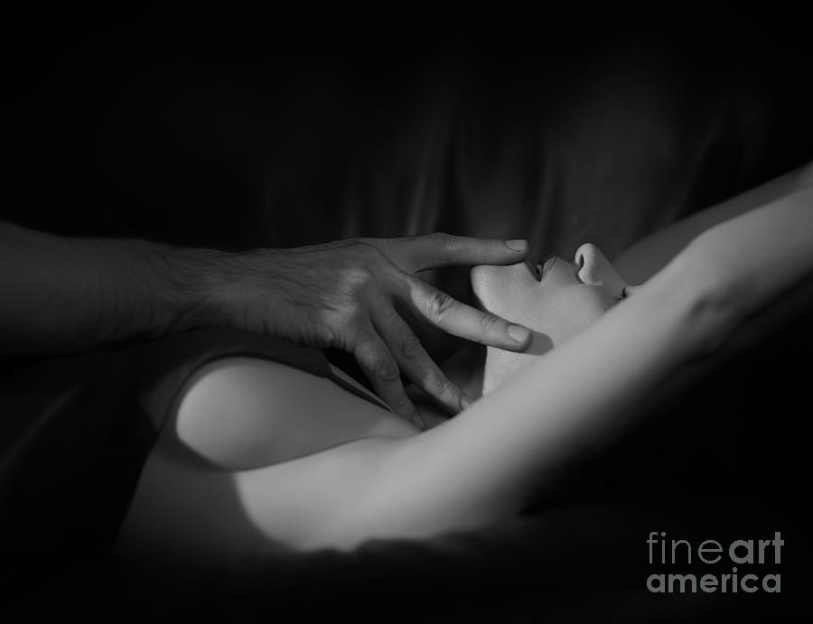 Sexy photograph romantic couple black and white closeup of man hands touching wo by awen