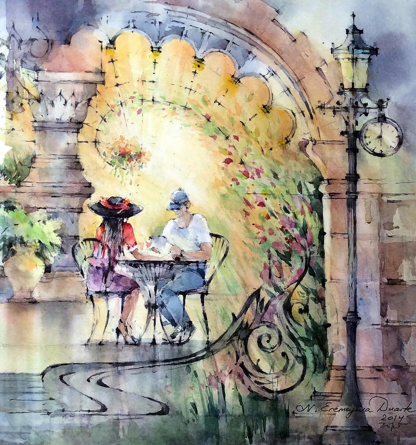 Laguna Beach Painting - Romantic Dinner by Natalia Eremeyeva Duarte