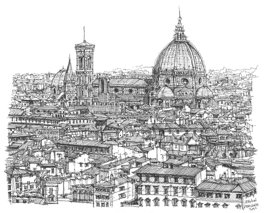 Florence Drawing - Romantic Florence Skyline In Ink by Building  Art