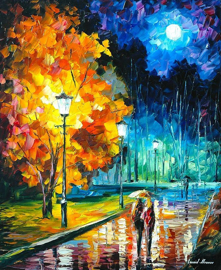 Romantic Night 2 Palette Knife Oil Painting On Canvas By