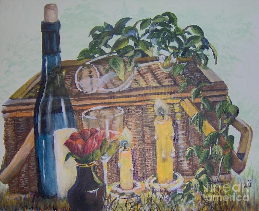 Picnic Painting - Romantic Picnic by Saundra Johnson