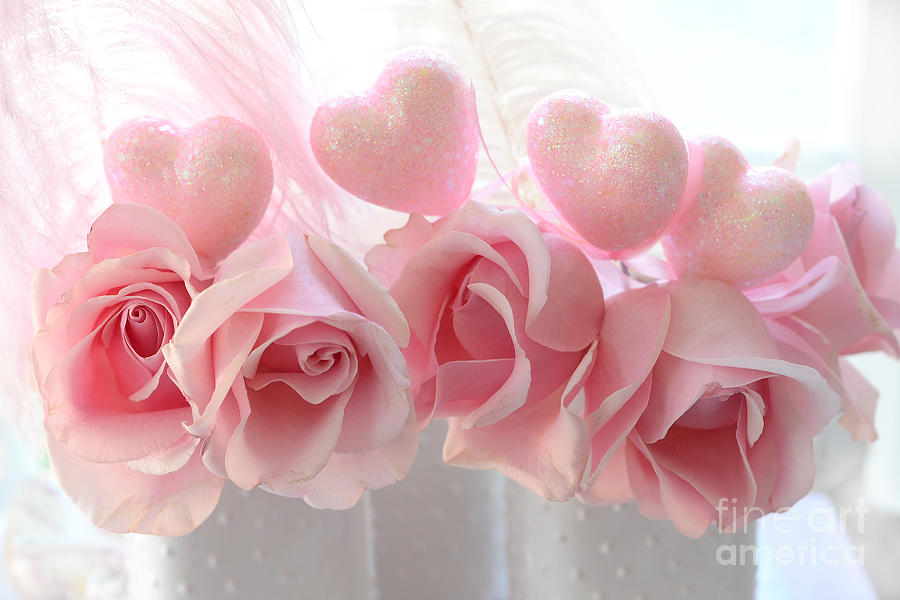 Romantic Pink Roses Photograph   Romantic Pink Shabby Chic Valentine Hearts  And Roses   Valentine Roses