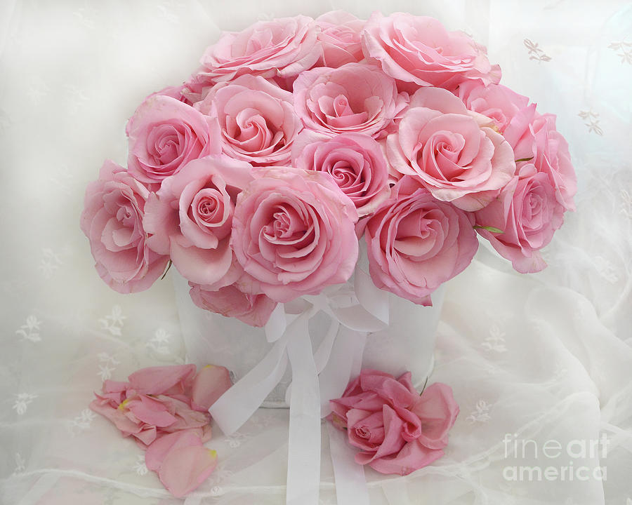 Romantic Pink White Roses Bouquet Shabby Chic Flowers Roses ...