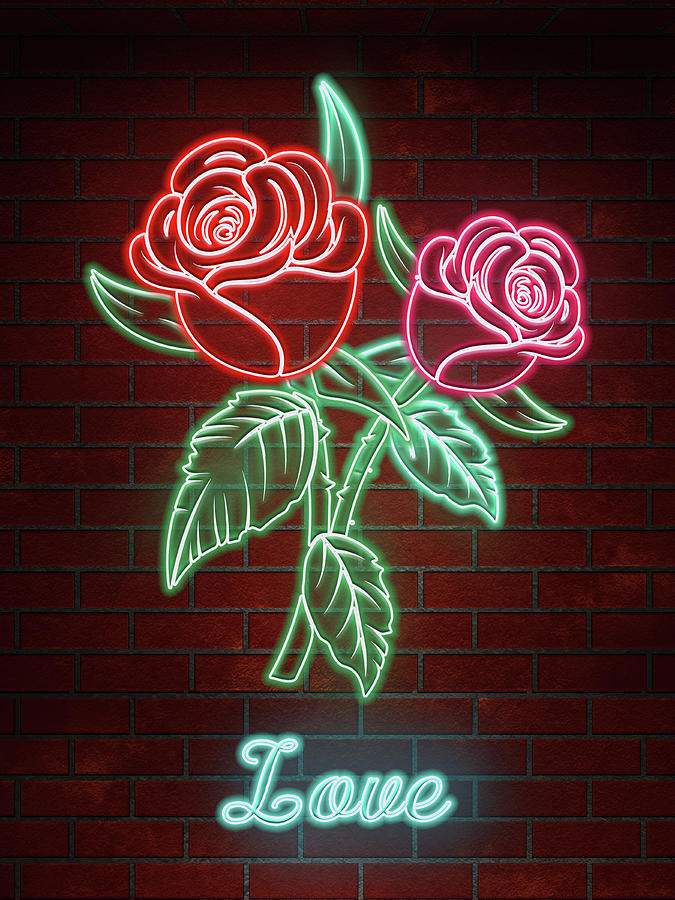 Romantic Roses In Neon Lights Text Love Digital Art By