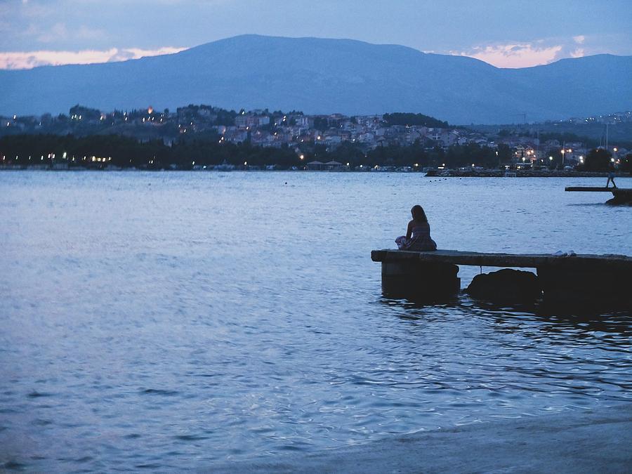 Romantic Sunset Photograph - Romantic Sea Sunset Loneliness by Olga Kurygina