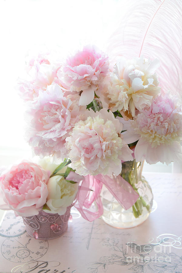 Romantic Shabby Chic Pink White Peonies Shabby Chic