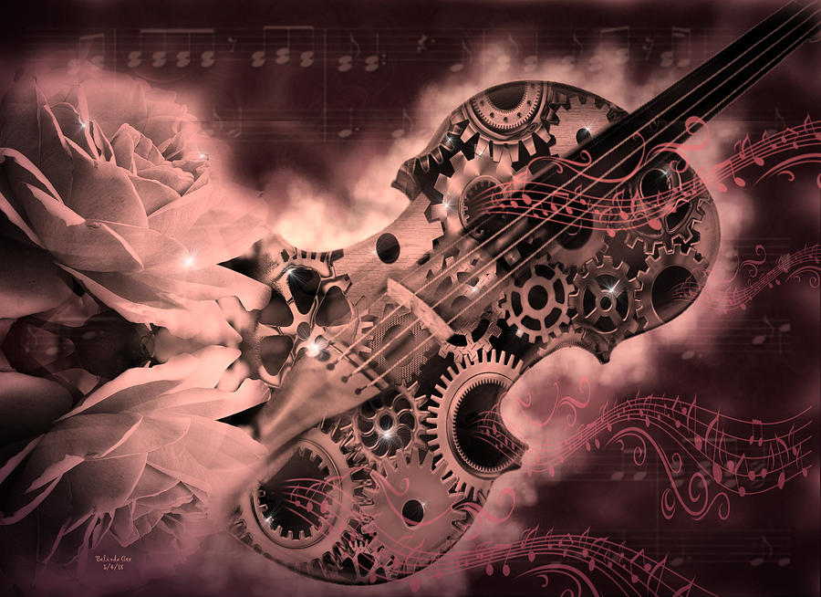 Romantic Stemapunk Violin Music Digital Art