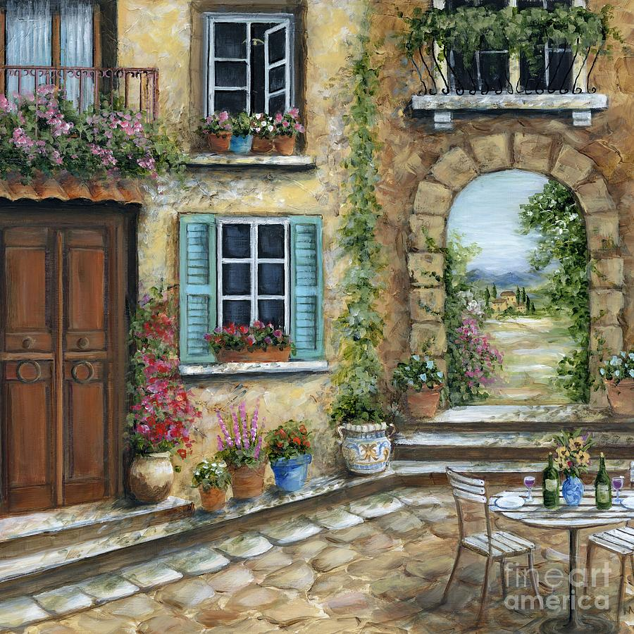 Tuscany Painting - Romantic Tuscan Courtyard II by Marilyn Dunlap