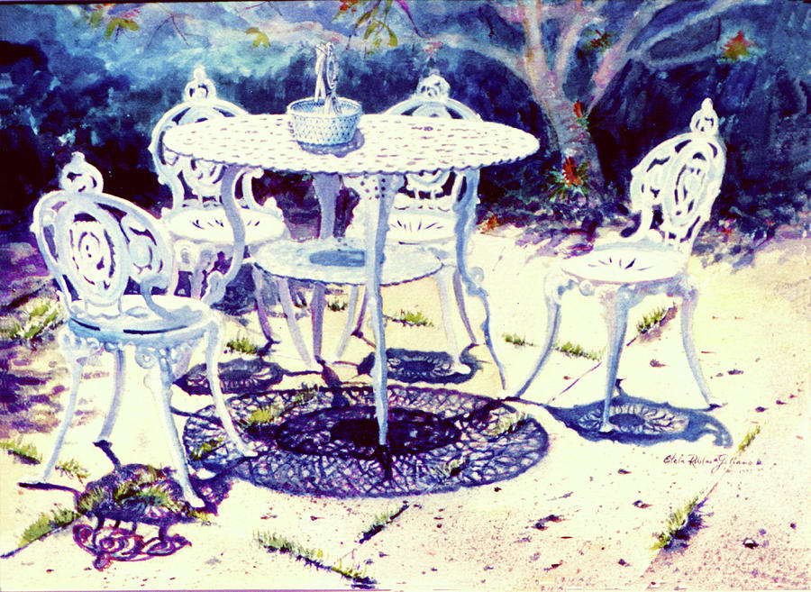 Watercolor Paintings Painting - Romantic White Garden by Estela Robles