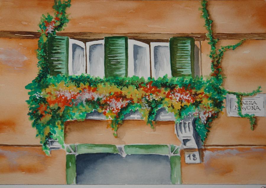 Watercolor Painting - Romas Window by Roberta Ponte