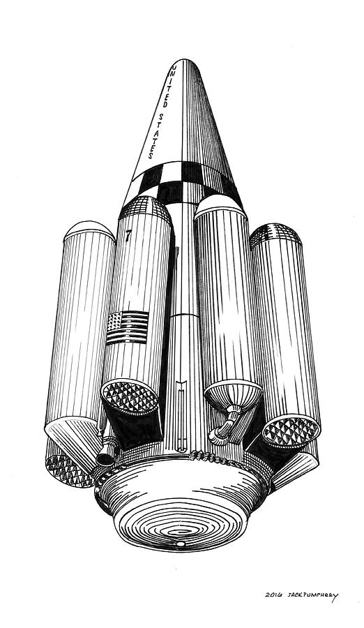 Rombus Heavey Lift Reusable Rocket Drawing by Jack Pumphrey