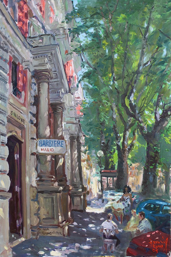 Italy Painting - Rome A Small Talk By Barbiere Mario by Ylli Haruni