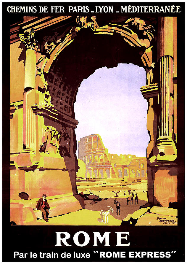 Rome Painting - Rome, Italy, Rome Express Railway by Long Shot