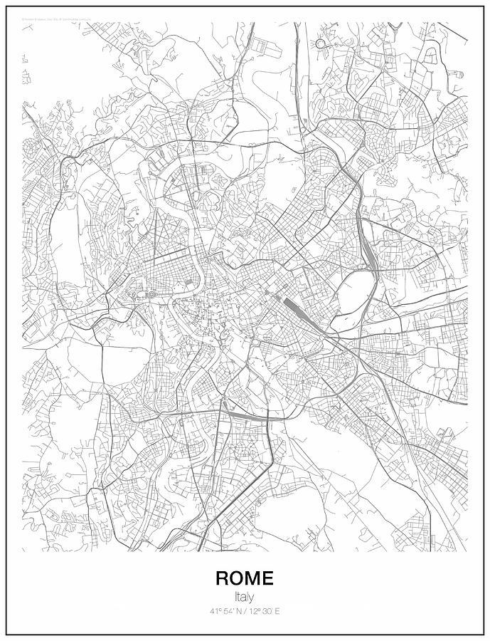 Rome Minimalist Map Digital Art by Lori Hinner