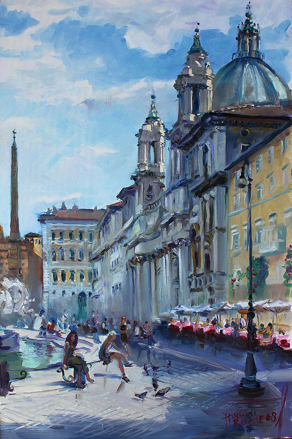 Italy Painting - Rome Piazza Navona by Ylli Haruni