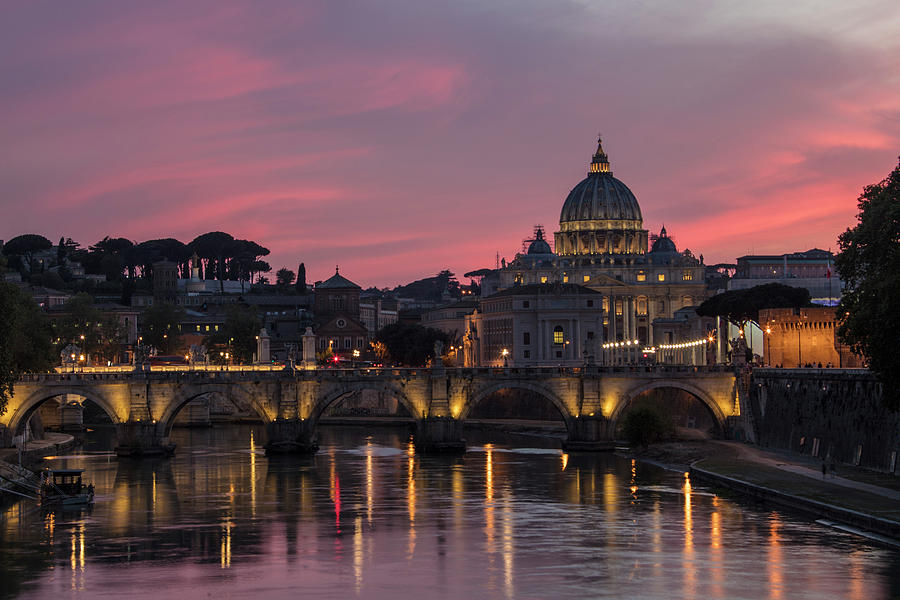 Basilica Photograph - Rome Sunset With Vatican  by John McGraw