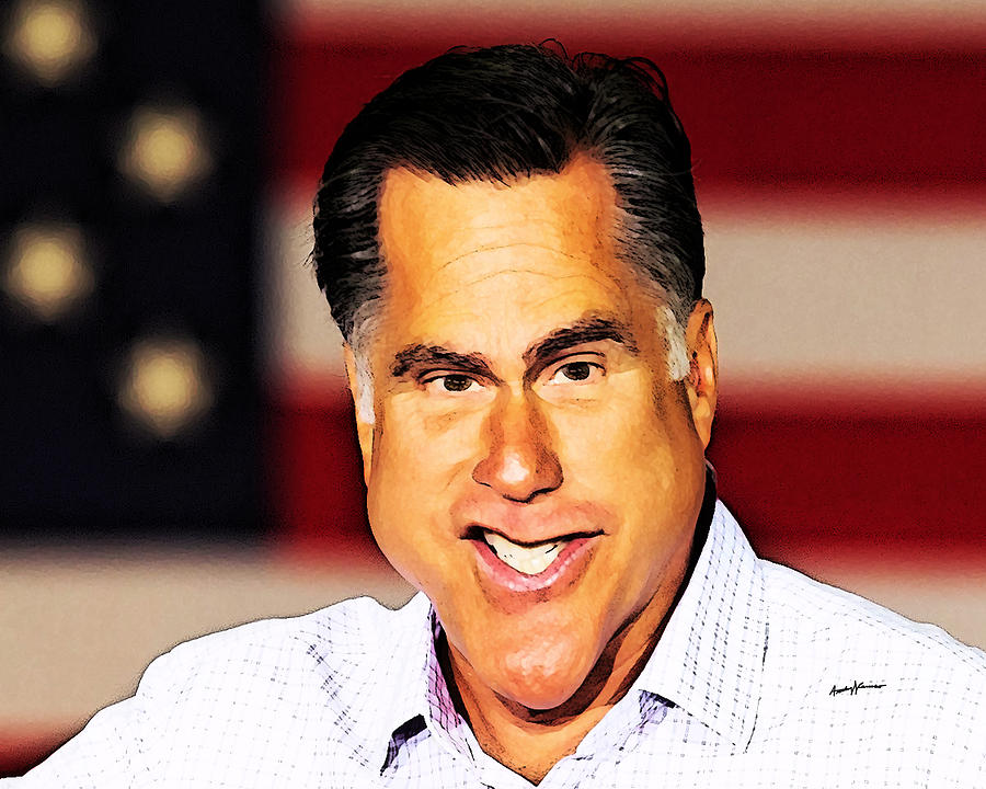 Caricatures Digital Art - Romney Caricature by Anthony Caruso
