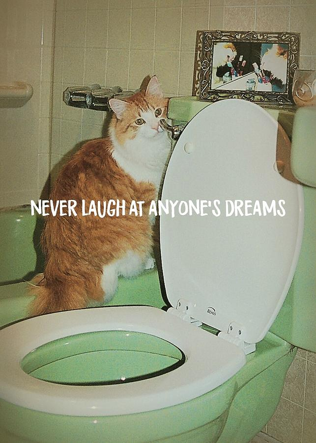Cat Photograph - Ron At The Loo Quote by JAMART Photography